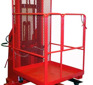 Safety Work Platform on stacker - front view